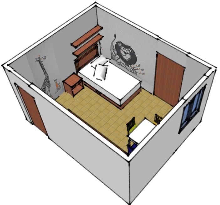 3d dormitorio de ni os gaby design for Planificador habitacion 3d