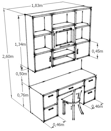 3d dormitorio de ni os gaby design for Medidas para mueble de computadora